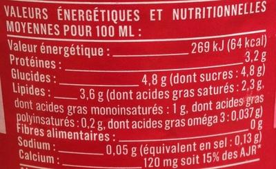 Lait entier stérilisé U.H.T. - Informations nutritionnelles - fr
