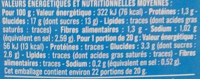 Ketchup Léger et Doux (40 % de sucres en moins) - Voedingswaarden