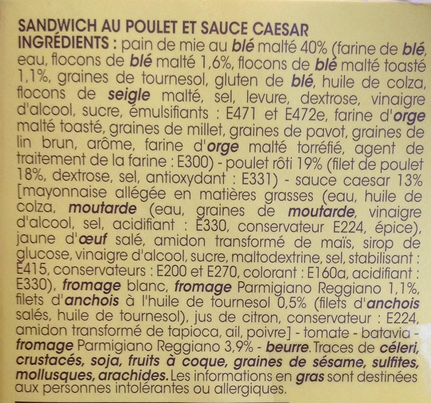 Poulet Caesar Pain de mie au blé malté - Ingrediënten