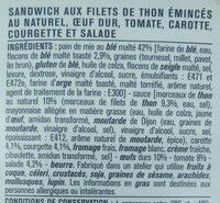 Thon crudités pain de mie au blé maltais - Ingredients - fr