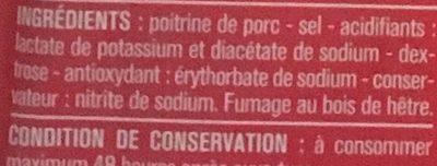 Lardons fumés, 25% de sel en moins qualité supérieure - Ingrédients