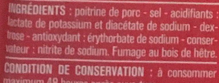 Lardons fumés, 25% de sel en moins qualité supérieure - Ingrediënten