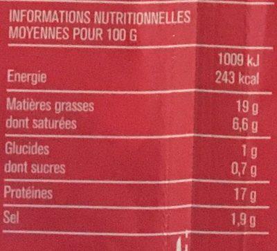 Lardons fumés, 25% de sel en moins qualité supérieure - Informations nutritionnelles