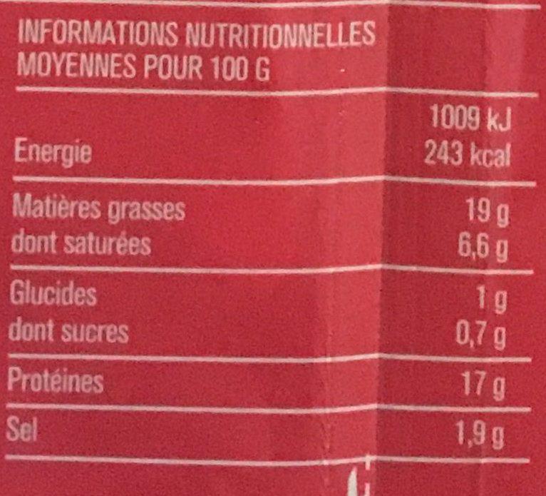 Lardons fumés, 25% de sel en moins qualité supérieure - Voedingswaarden