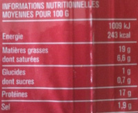 Lardons Nature (25 % de sel en moins) - Nutrition facts
