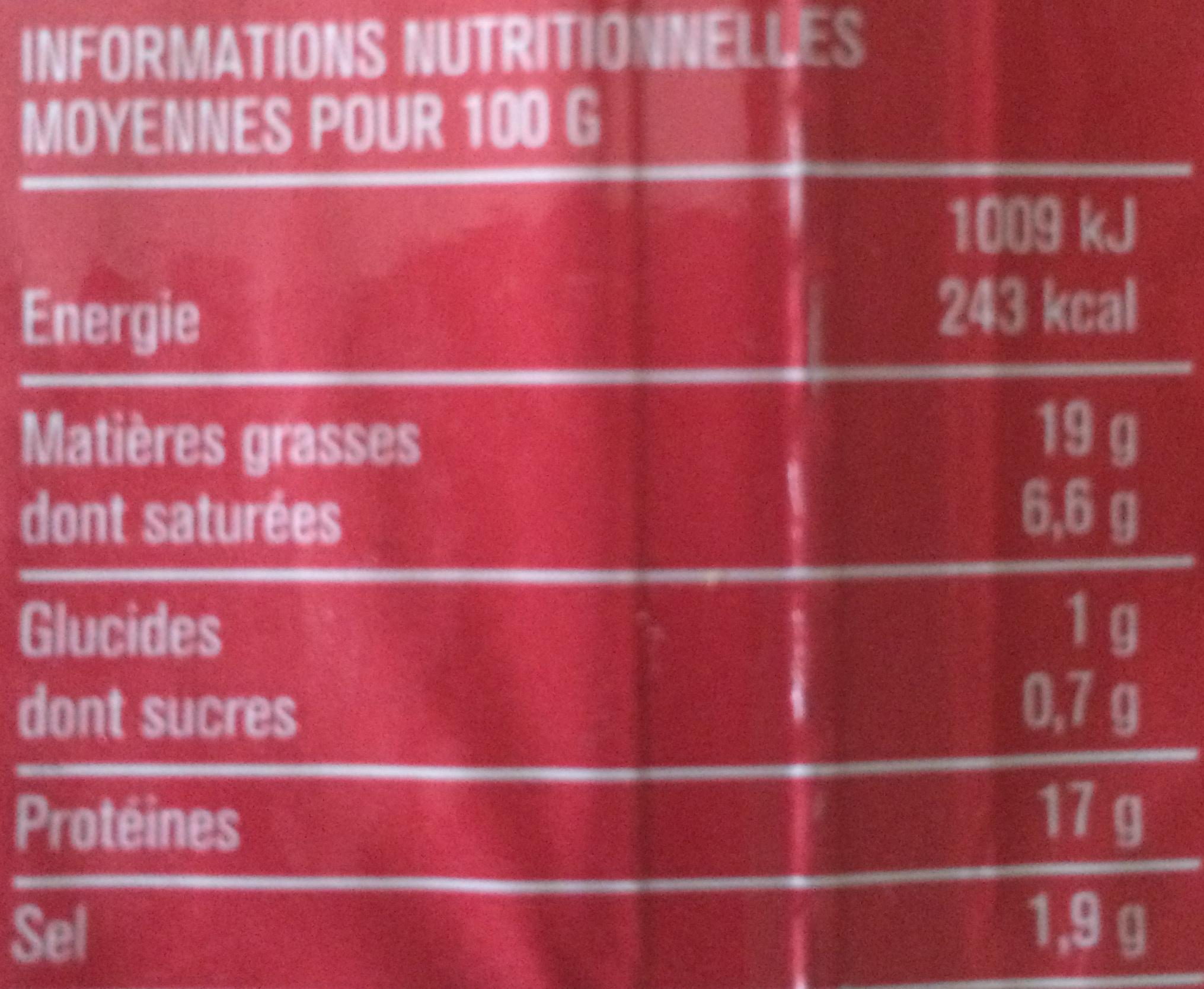 Lardons Nature (25 % de sel en moins) - Voedigswaarden