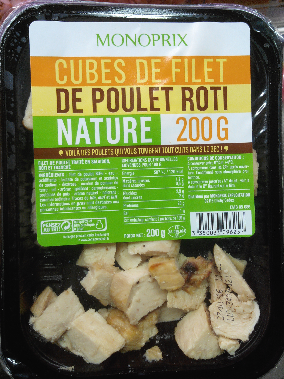 Cubes de filet de poulet rôti nature - Product - fr