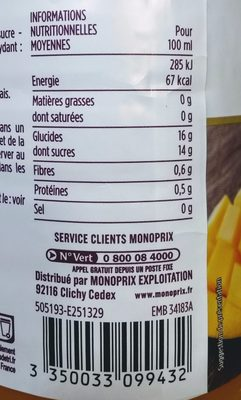 Nectar gourmand mangue origine Pérou - Nutrition facts - fr