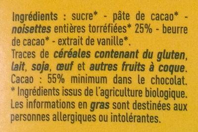 Chocolat noir aux Noisettes entières Bio - Ingredienti - fr