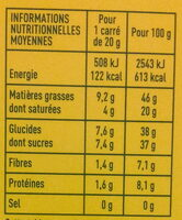 Chocolat noir aux Noisettes entières Bio - Valori nutrizionali - fr