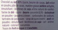 Bâtonnets sablés chocolat au lait - Ingredients - fr