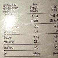 Bâtonnets sablés chocolat au lait - Nutrition facts - fr