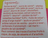 Cookies noisettes et pépites de chocolat - Ingredients