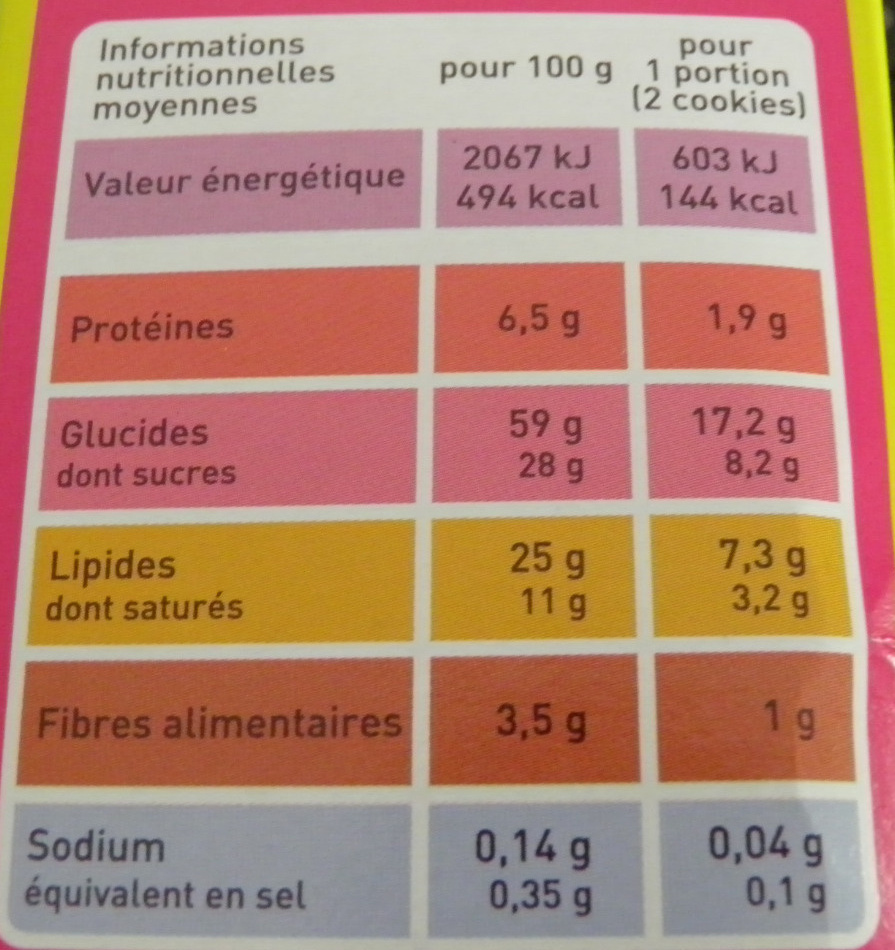Cookies noisettes et pépites de chocolat - Nutrition facts