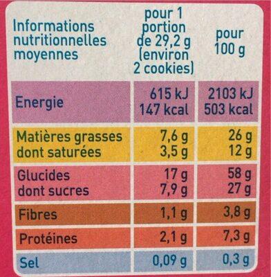 Cookies noisettes et pépites de chocolat - Voedingswaarden - fr