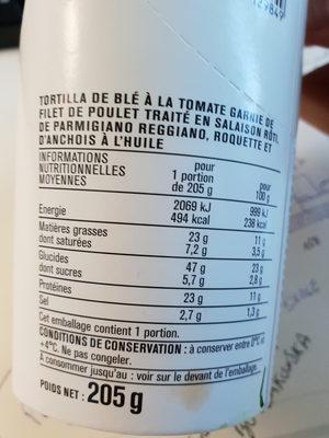 Wrap Poulet Sauce Caesar - Informations nutritionnelles - fr