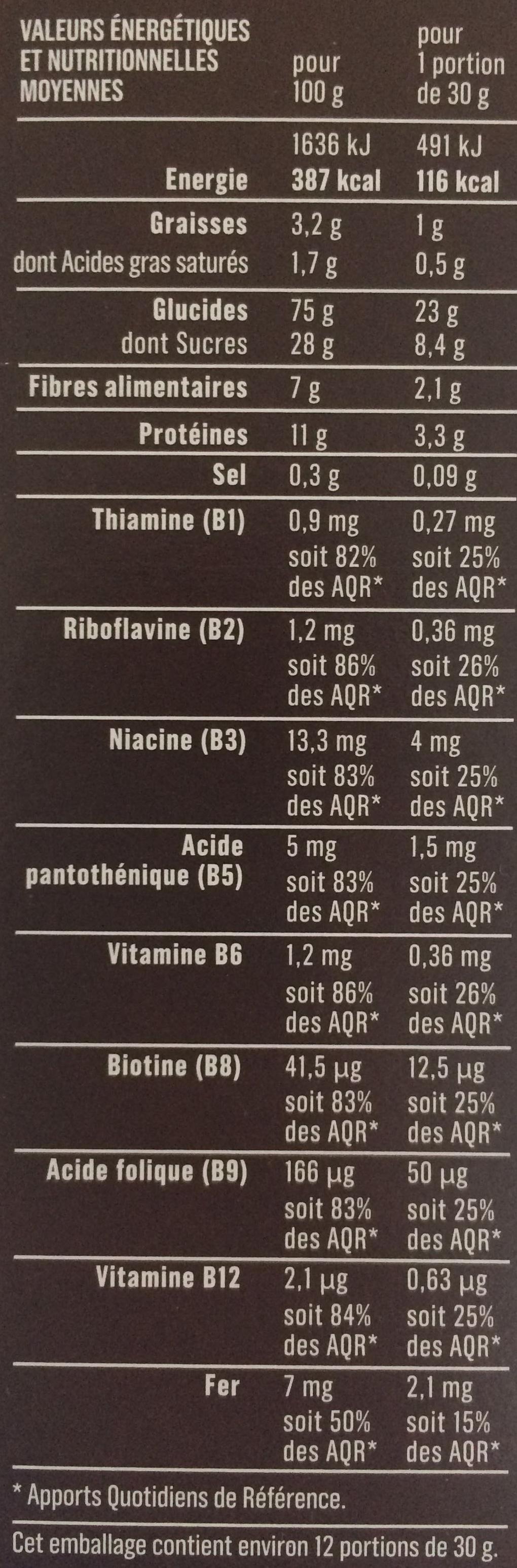 Pétales de blé au chocolat - Nutrition facts