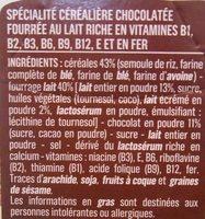 Céréales fourrées lait - Ingredientes