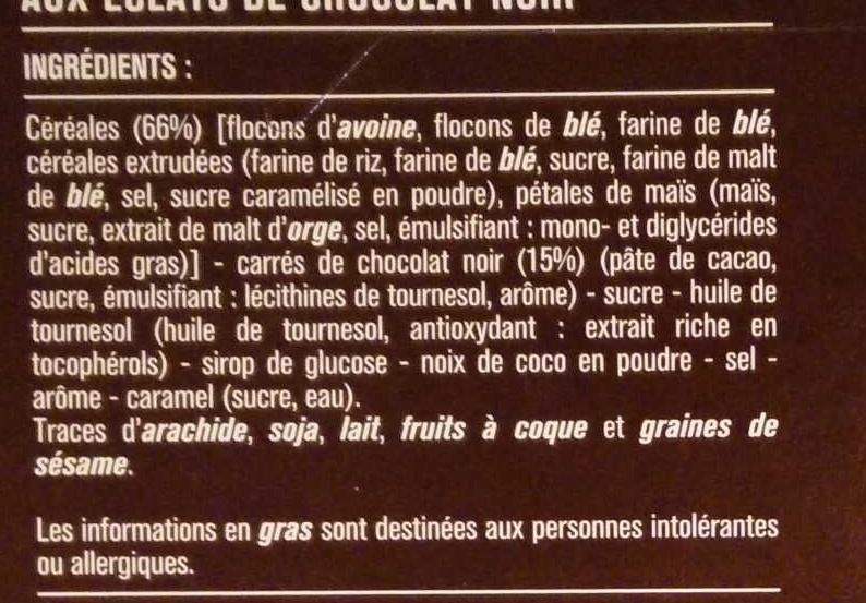 Pépites croustillantes éclats de chocolat noir - Ingrédients