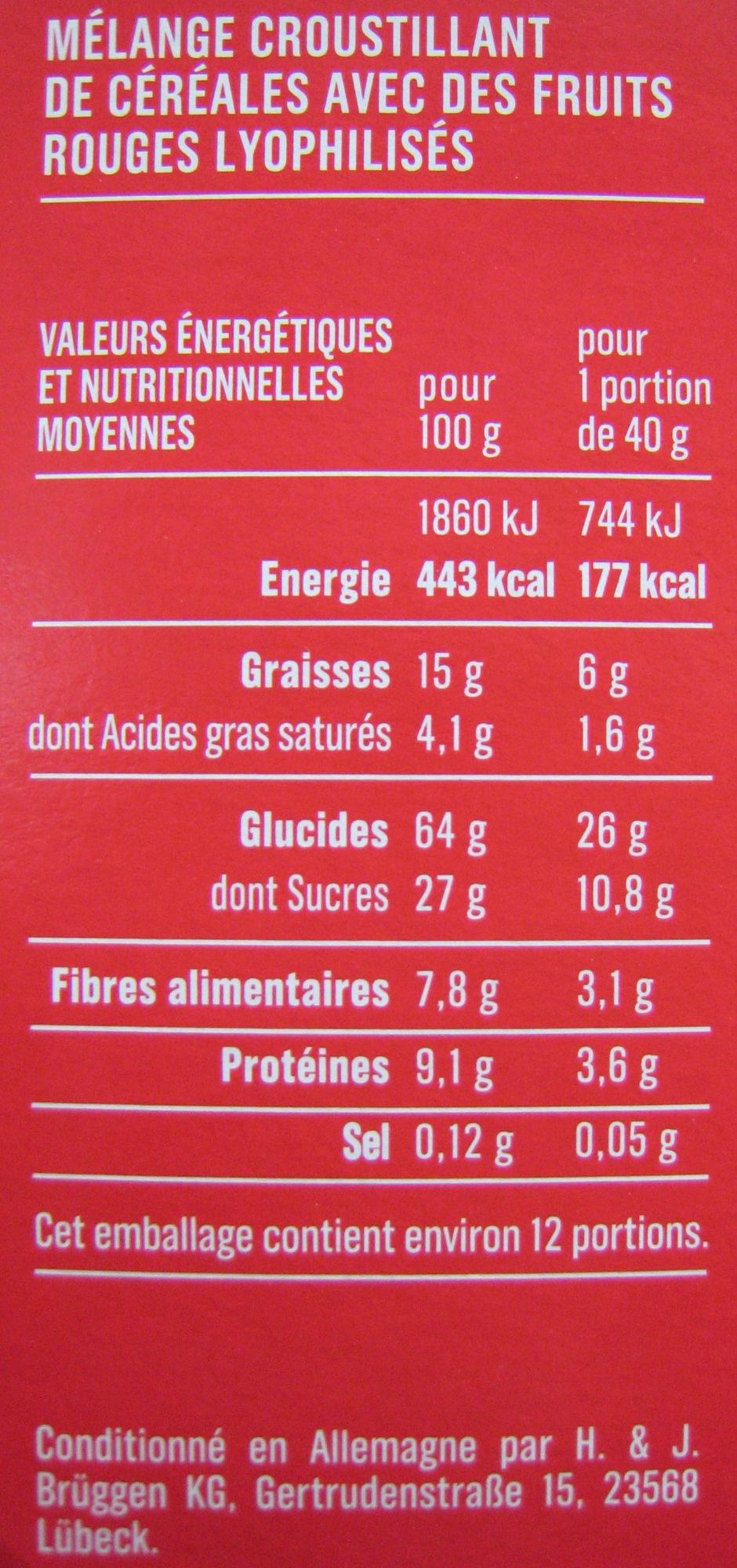 Pépites croustillantes framboise - fraise - myrtille Monoprix - Informations nutritionnelles