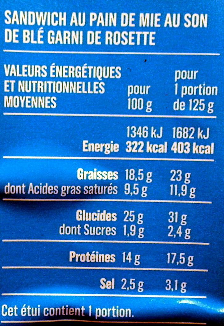 Rosette Beurre - Informations nutritionnelles - fr