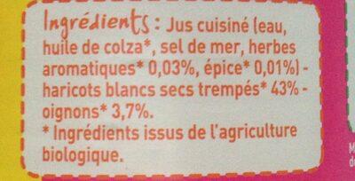 Haricots blancs cuisinés issue de l'agriculture biologique - Ingrédients - fr