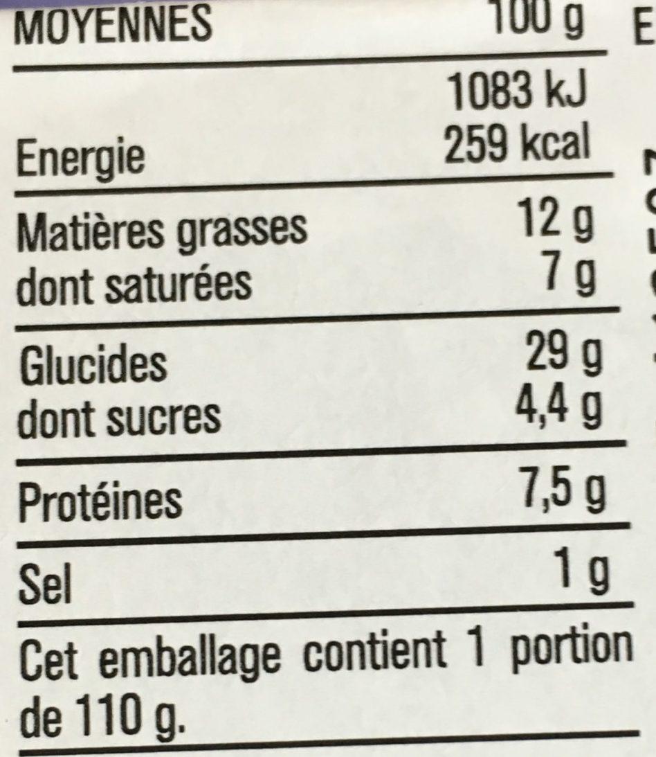Le pavé Chèvre chutney de figue - Nutrition facts