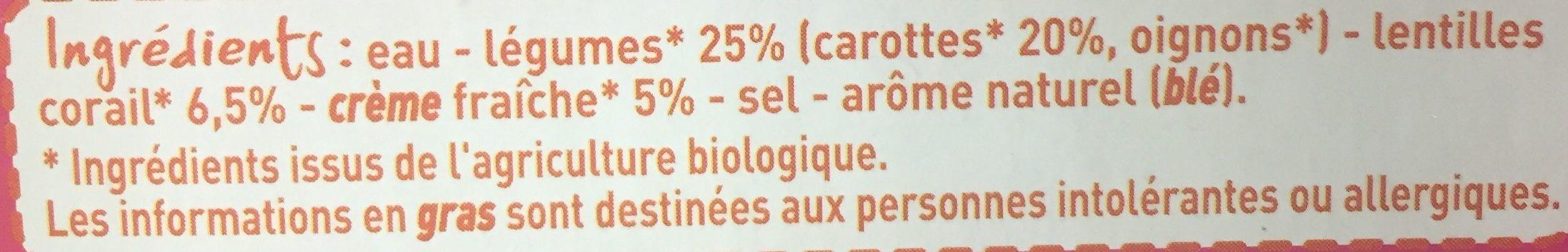 Velouté de carottes et lentilles corail à la crème fraiche - Ingrediënten
