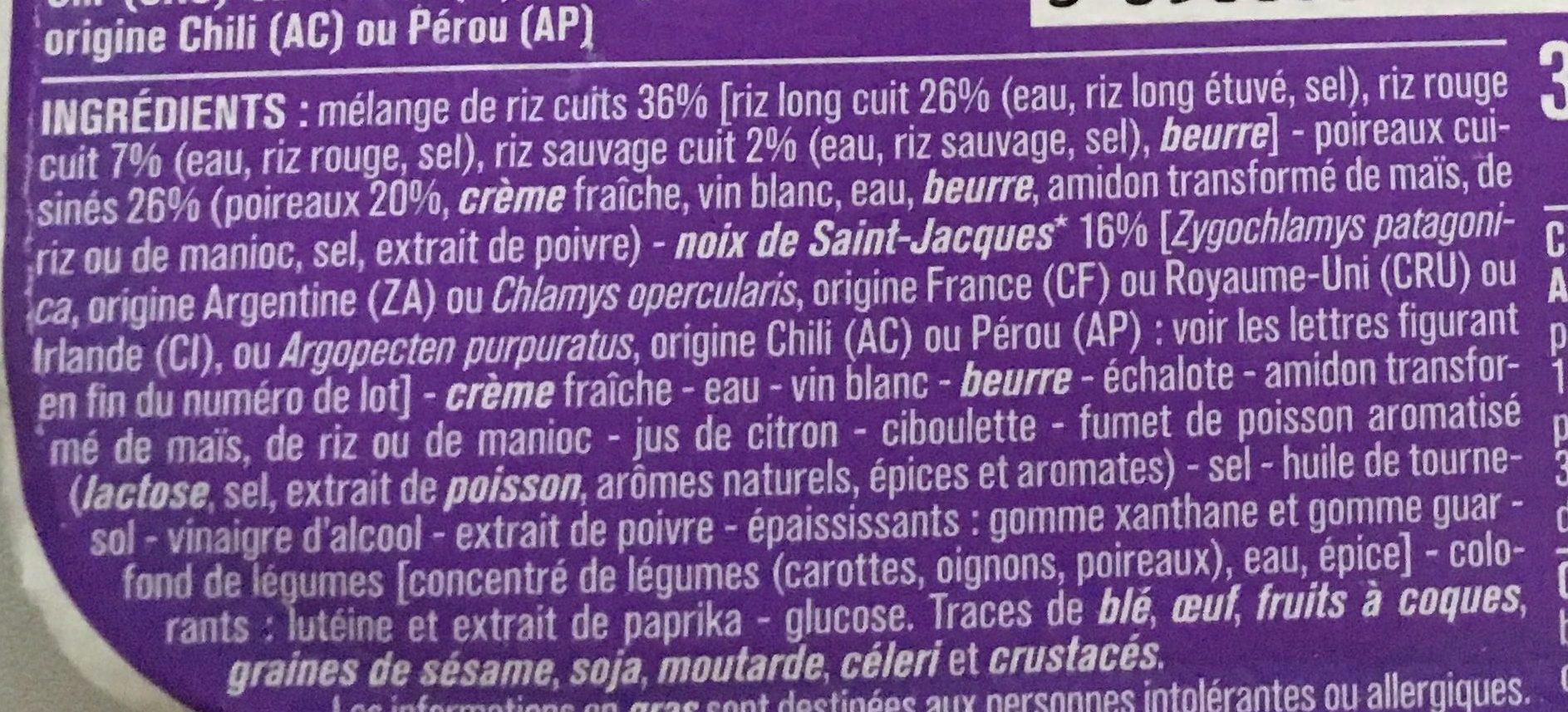 Noix de saint-Jacques poireaux cuisinés et trio de riz assortis - Ingredients