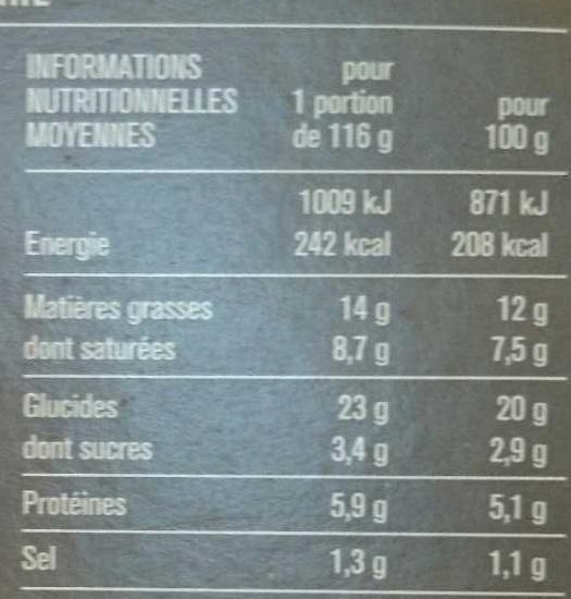 Tarte aux poireaux pâte pur beurre - Voedingswaarden - fr