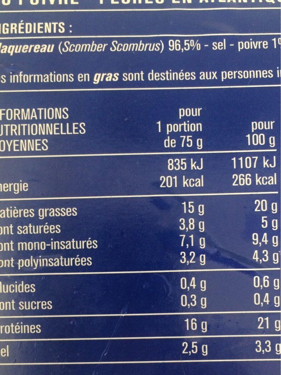 Filets de maquereaux au poivre - Voedingswaarden - fr