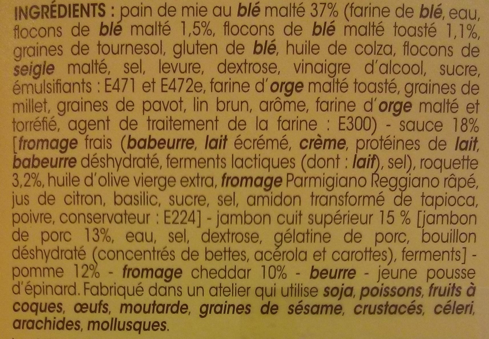 Jambon cheddar et roquette - Ingredients