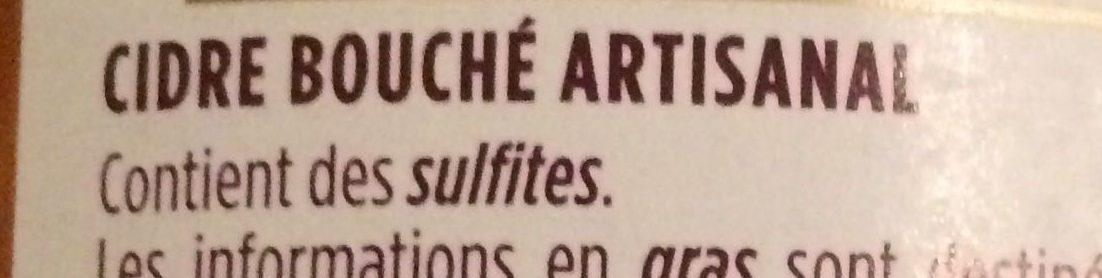 Cidre Artisanal Bouché - Ingredients