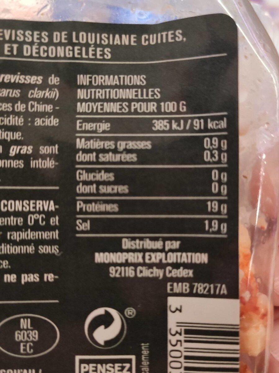 Queues d'écrevisses cuites & décortiquées - Informations nutritionnelles - fr