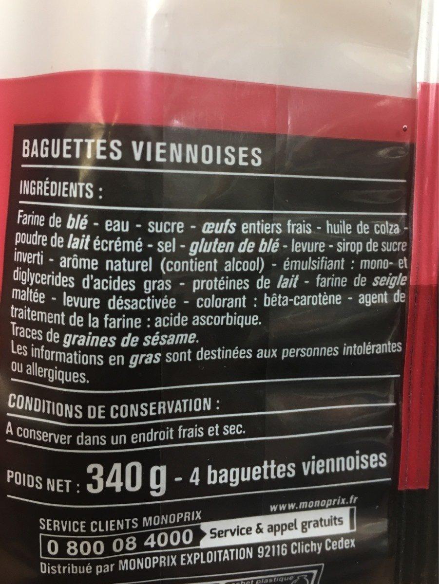 Baguettes viennoises - Ingrédients