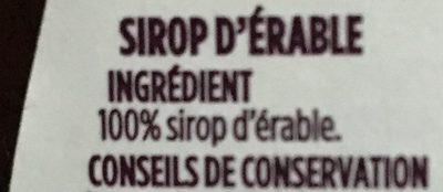 Pur Sirop d'érable - Ingredienti - fr