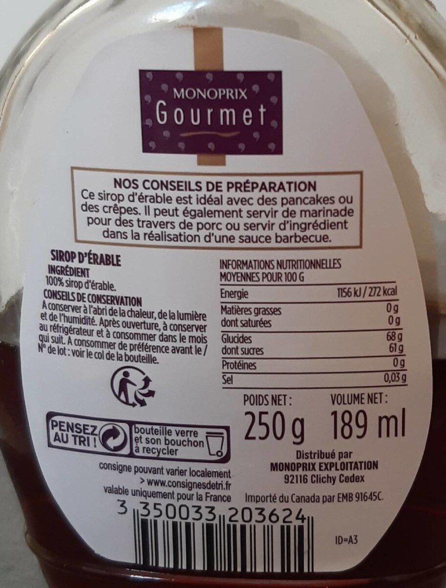 Pur Sirop d'érable - Valori nutrizionali - fr