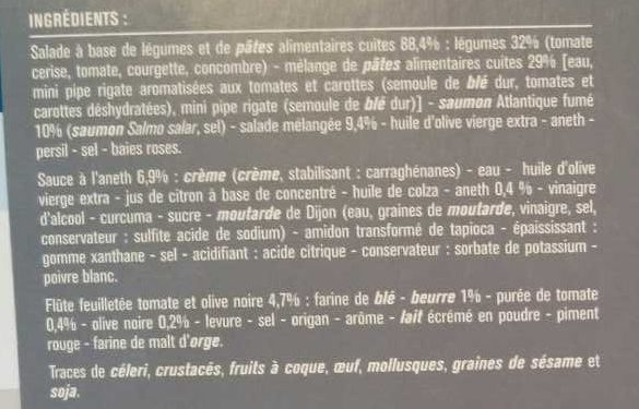 Salade au Saumon Fumé, Pâtes, Tartare de Légumes - Ingrediënten - fr
