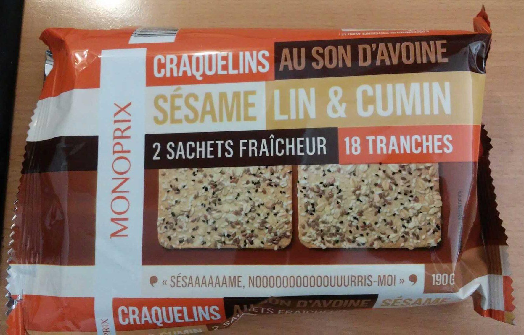 Craquelins au son d'avoine sésame lin & cumin - Product