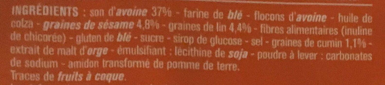Craquelins au son d'avoine sésame lin & cumin - Ingredients