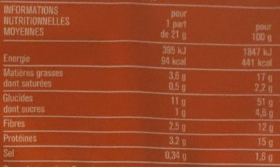 Craquelins au son d'avoine sésame lin & cumin - Nutrition facts