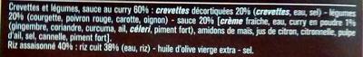 Crevettes au curry madras et petits légumes - Ingrédients