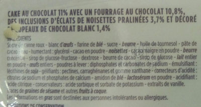 Cake gourmand chocolat fourrage chocolat - Ingrédients - fr