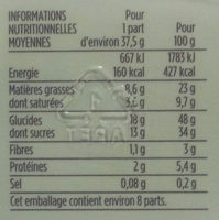Cake gourmand chocolat fourrage chocolat - Informations nutritionnelles - fr