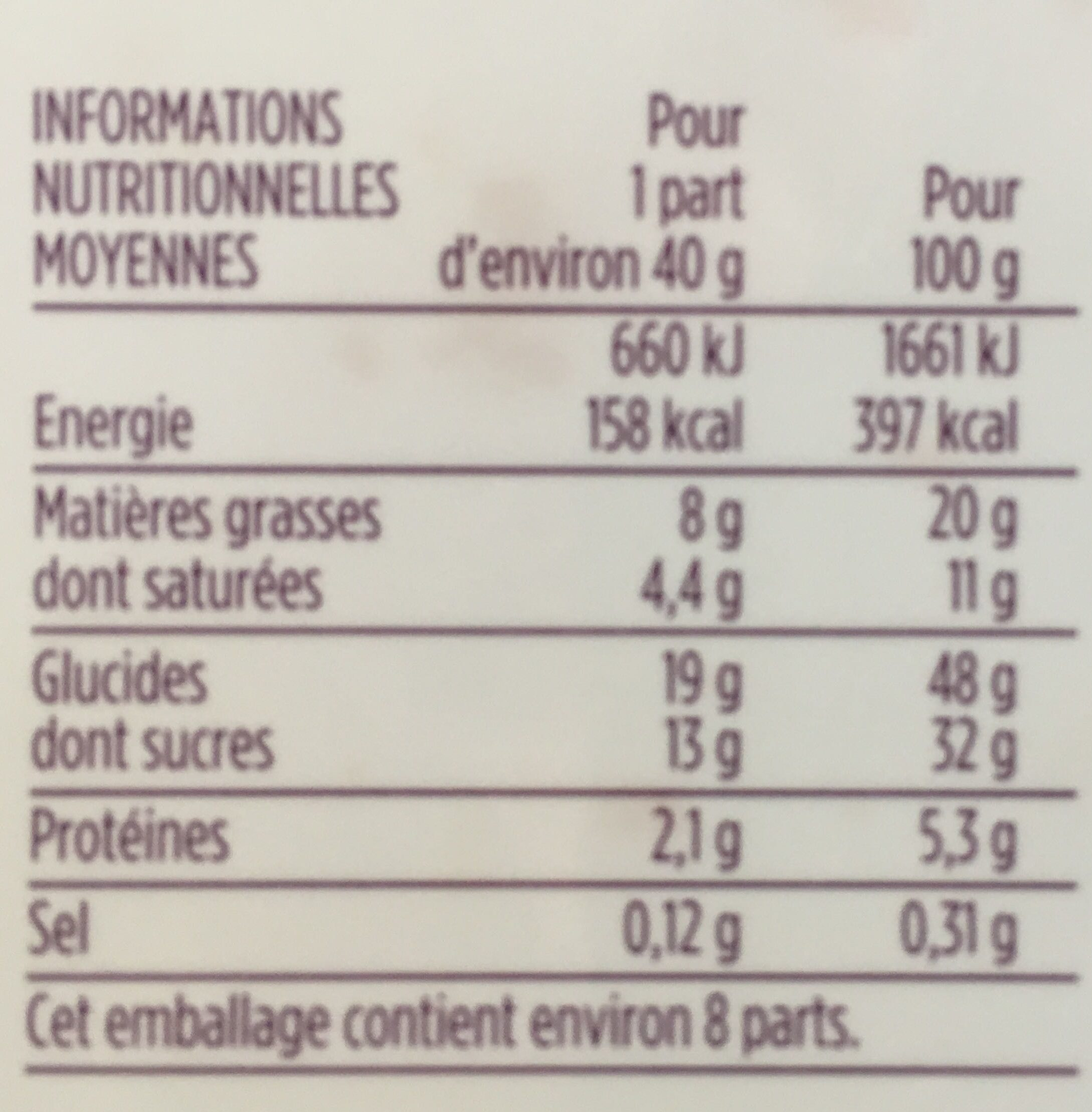 Cake gourmand citron - Nutrition facts
