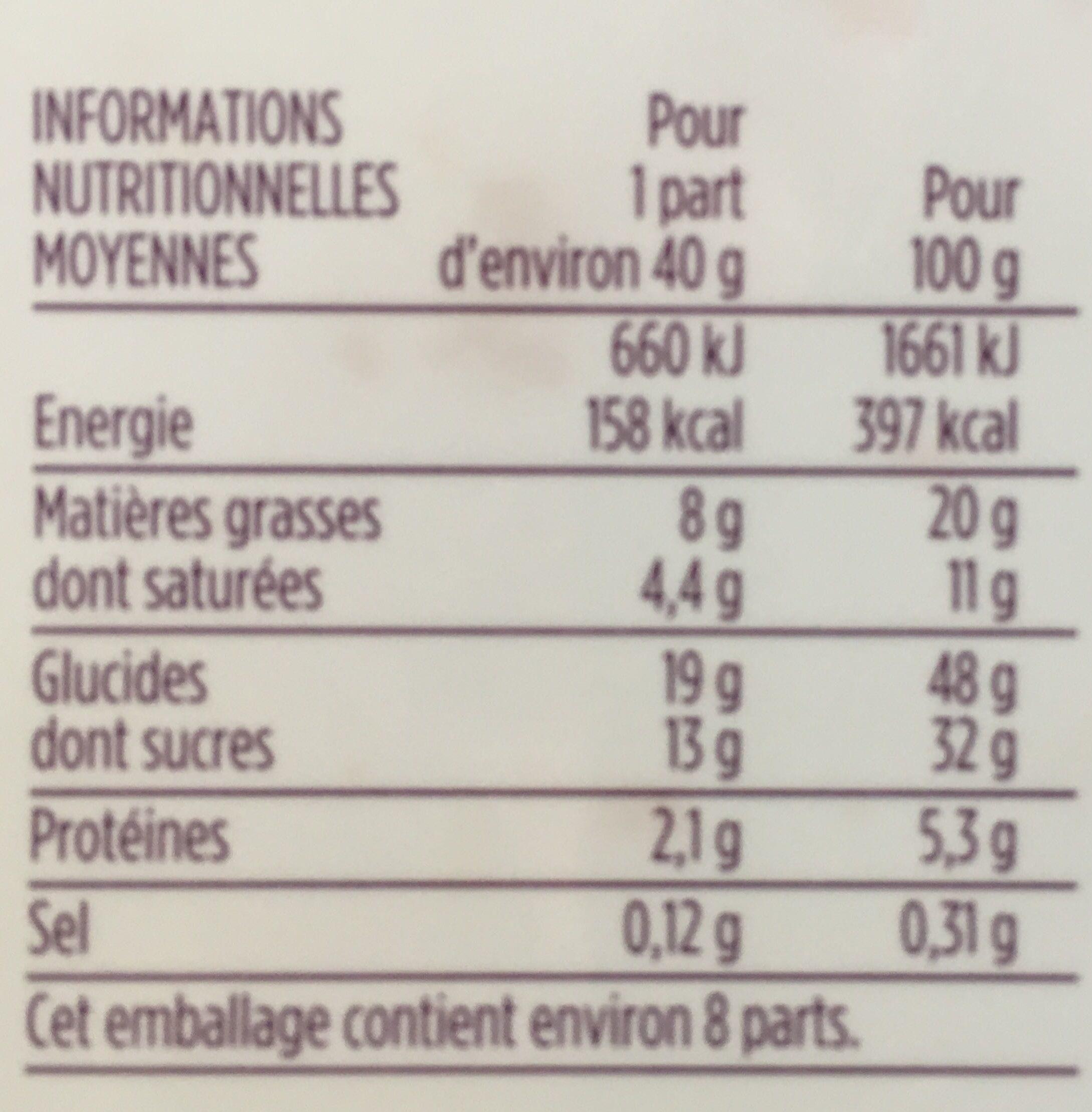 Cake gourmand citron - Voedingswaarden - fr