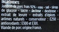 Jambon cuit supérieur, découenné et dégraissé, Viande de Porc Français - Ingredients - fr