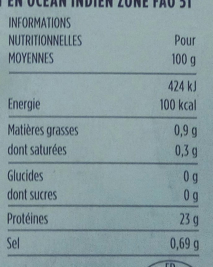 Crevettes sauvages de Madagascar - Nutrition facts