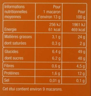 Macarons aux Amandes Sans Gluten - Informations nutritionnelles - fr