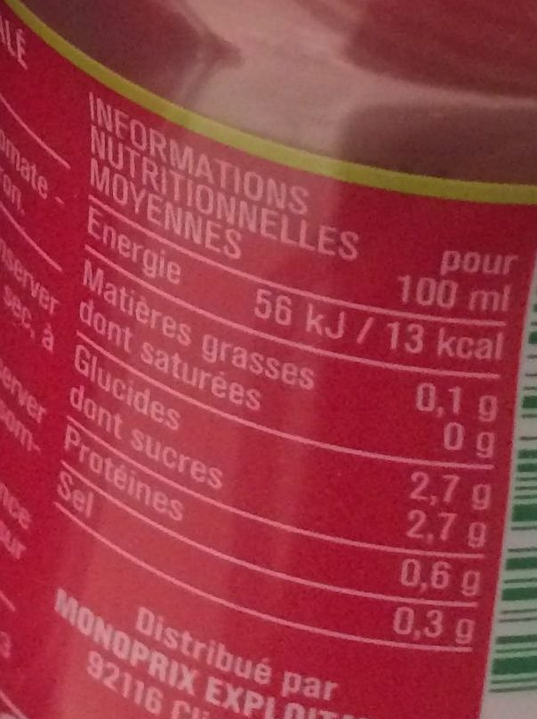100% pur jus tomate - Informations nutritionnelles